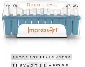 Deco Metal Stamp Set Impressart 1.5mm-Uppercase Metal Alphabet Set Plus-Metal Supply Chick-NEW SC1223a1