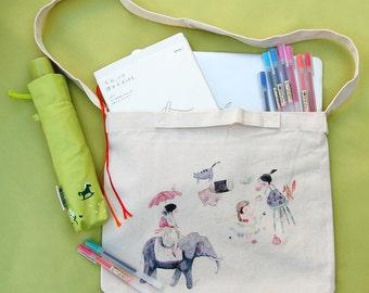 Watercolor illustration printed canvas shoulder bag