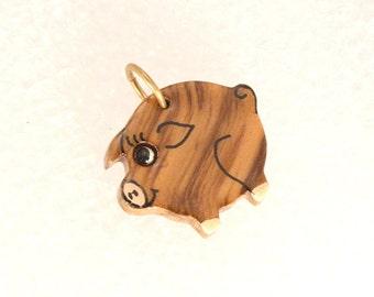 Vintage Pig Charm Pendant Polished Wood Adorable Unique