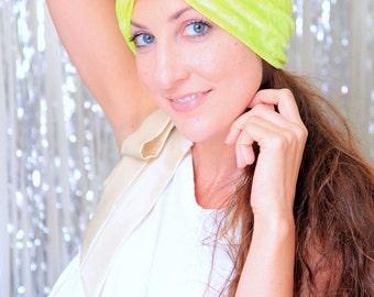 Crushed Velvet Turban in Chartreuse - Women's Fashion Hair Wrap - Neon Yellow - Lots of Colors
