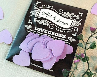 25 Chalkboard Heart Confetti Seed Paper Wedding Favors - Bridal Shower - Seed Paper Confetti - Biodegradable - Eco Friendly - Vintage