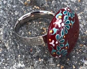Handmade steel enamel ring wreg1001