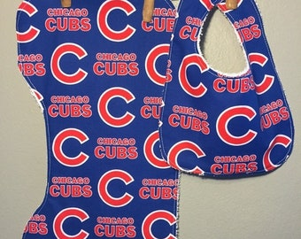 SALE Chicago Cubs Baby Bib, Burp Cloth Set