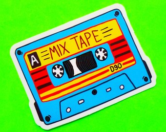 The Mix Tape A Sides 90 Minute Cassette Love Songs Brightly Coloured Blue and Red Waterproof Vinyl Sticker
