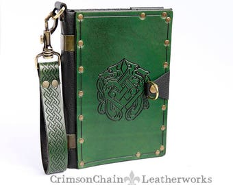 Travelers Journal - Celtic Dogs in Green embossed sketchbook cover by Crimson Chain Leatherworks