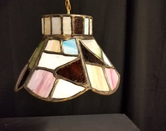 Mini Boho Stained Glass Pendant, Eclectic Glass Hanging Light