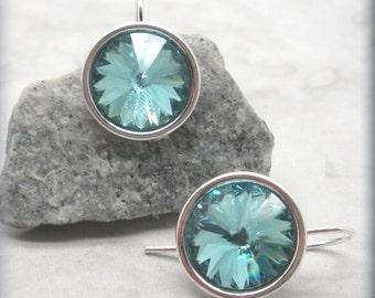 Light Turquoise Rivoli Earrings, December Birthstone Earrings, Swarovski Crystal Earrings, Sterling Silver, Birthday Gift for Her