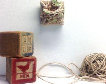 Bird nest tile, Hummingbird nest tile, nest tile, air plant holder, air plant hanger, hummingbird's nest, hummingbird art, bird lover gift