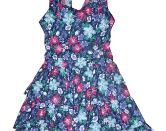 Vintage Floral Open Back Pleated Ruffled Sun Dress Size 11-12