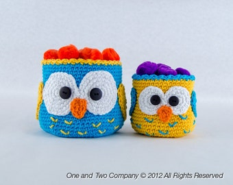 Owl Crochet Baskets - 2 sizes - PDF Crochet Pattern - Instant Download - Container Home Decor Basket Box animal