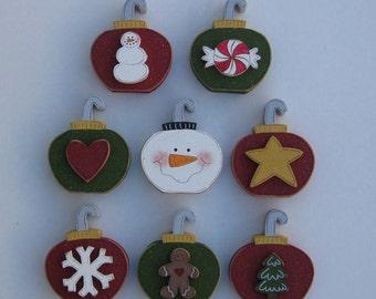 CHRISTMAS ORNAMENT Blocks Set  -Set of 8 for the price of 7- for Noel, shelf, desk, office, mantle and home decor