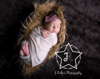 Baby Bow Headband, Baby Headband, Fabric Bow Headband, Newborn Photo Prop, Baby Prop, Headband
