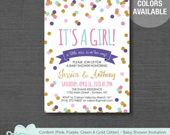 Confetti Baby Shower Invitation Printable Pink Purple Green and Gold Glitter, It's a Girl, Baby Shower Invite, 24C