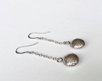 Sterling silver drop embossed oxidised earrings, hallmarked in Edinburgh