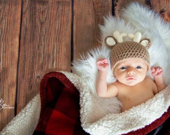 Crochet deer outfit, newborn deer hat, newborn photo prop, photography, baby deer bum cover, crochet newborn photography set