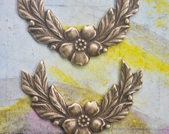 TWO mini floral brass garlands, Brass Ox, Brass Stampings for Jewelry, Made in the USA