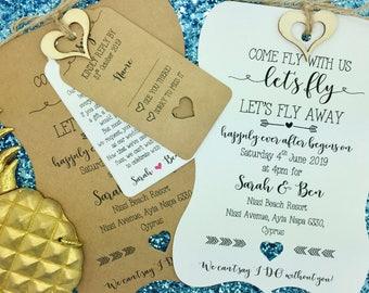 Destination Wedding Invitation, Travel wedding, Wedding Abroad, Rustic Wedding Invitation