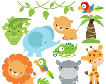 ON SALE INSTANT Download.  Jungle animals. Can_25. Personal and commercial use.