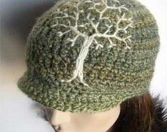 Brimmed Beanie with Tree of Life Design - Sage Green and Cream - Brimmed Hat Tree Hat Womens Hat Mens Hat MADE TO ORDER