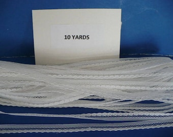 10 Yards 1/4 in White Beaded Lace Trim