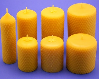 Beeswax Candles, 7 pc Set of 100% Pure Beeswax Honeycomb Pillars, Honeycomb Candles, Beeswax Candle Collection, Over 525 Hours Burn Time