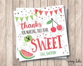 Thanks for Making This Year So Sweet, Personalized Printable Sweet Teacher Tags, Printable End of Year Tags, Printable Teacher Tags