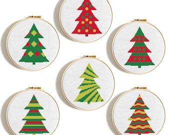 Christmas tree cross stitch pattern set Merry Christmas Tree Scandinavian christmas cards Counted cross stitch Geometric cross stitch PDF