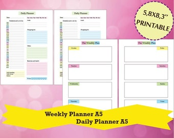 Weekly Planner A5, Daily Planner, Filofax A5 Planner Printable, Personal organizer, Filofax A5, A5 Inserts,Instant Download