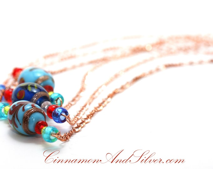Boho Turquoise Blue Lampwork Glass Beads and Bright Copper Folk Bar Necklace, Blue Bar Folk Necklace, Blue Boho Bar Necklace
