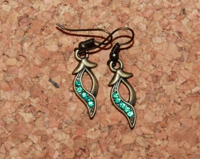 Leaves with Blue Gemstone Earrings, Dangle Earrings, Hook Earrings, Bell Art Designs 26