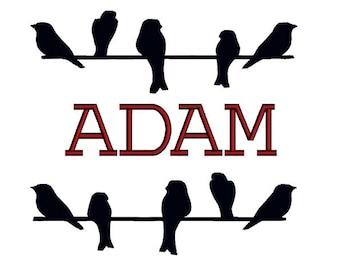 Birds on wire split monogram frame. Machine embroidery design.