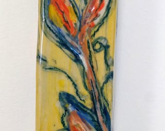 Ceramic Mezuzah Case with Floral Design