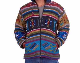 ETHNIC HIPPY JACKET, ooak mens one of a kind hand-woven Bhutan yathra hoodie, mans winter hippy coat, warm woollen hoodie, festival jacket