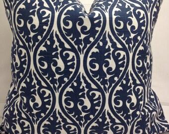 """Cobalt  blue and ivory decorativethrow pillow, 20"""" square, kimono scroll,"""