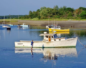 Paddling past Phyllis P, Cohasset, MA, harbor, boats, paddleboard, South Shore, nautical decor, cottage decor, archival print, signed on mat