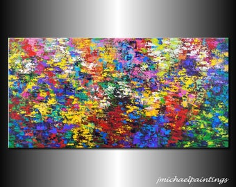 Impressionism Abstract Wildflower Flowers Palette Knife Painting Canvas Contemporary Colorful Vivid Landscape Over the Couch 24x48 JMichael
