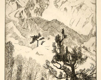 Gene Kloss Excellent Pencil Signed and Numbered Etching Pine and Peak 1981 Unmatted, Unframed