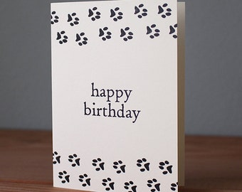 Handmade Paw Print Birthday Card