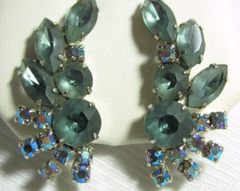Vintage D&E Juliana Clip Earrings AB, Frosted Rhinestones Silver-tone 1.79 x .79