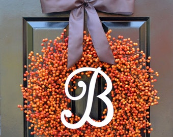 Orange Berry Fall Wreath, Fall Monogram Wreath Thanksgiving Wreath, Fall Decor with Weatherproof Berries