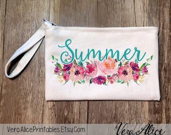 Bridesmaid Makeup Bag, Make Up Bag, Bridesmaids Gifts, Monogram Cosmetic Bag, Floral Makeup Bag, Bridesmaids, Will You Be My Bridesmaid Bag