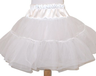 2 Layer Organdy and Satin Fluffy Petticoat, Square Dance Petticoat for Twirly Skirt Dresses Infant Baby Toddler Girls Can Can Petticoat