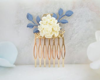 Bridal Hair Accessory Blue - Something Blue for Bride - Rose Hair Comb - White Flower Comb - Wedding Hair Comb Ivory - Blue Bridesmaid H2039