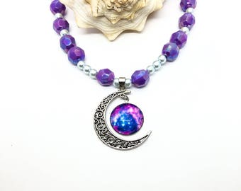 Out of this world Purple Galaxy Universe Necklace