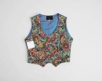 floral tapestry vest   cropped floral vest   suede vest