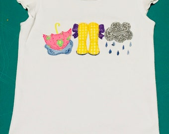 Girls Flutter Sleeve shirt - Rainy Day