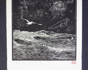 The seagull, the eagle, the egg and the sea | Original handmade linocut print | Black and white landscape with birds | Limited edition art