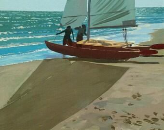 Sailboat - Fine Art Limited Edition Print, Seashore, Summer, Beach, Wall Art, Home Decor