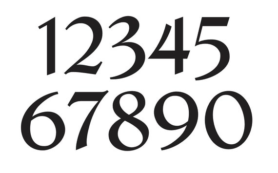 number stencil 3 french chic font numbers 0 9 for