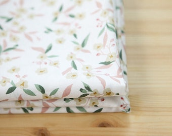 Flowers Cotton Fabric - White - By the Yard 80698